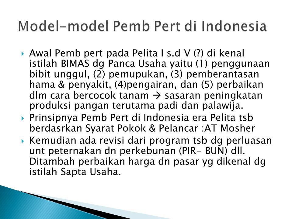 Model-model Pemb Pert di Indonesia