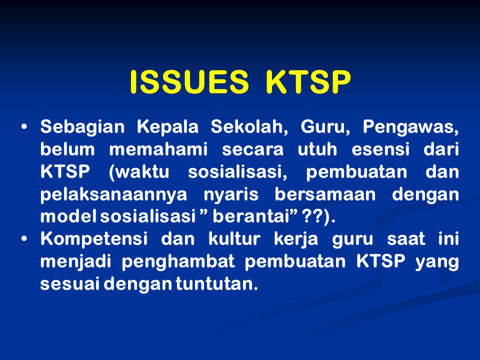 ISSUES KTSP