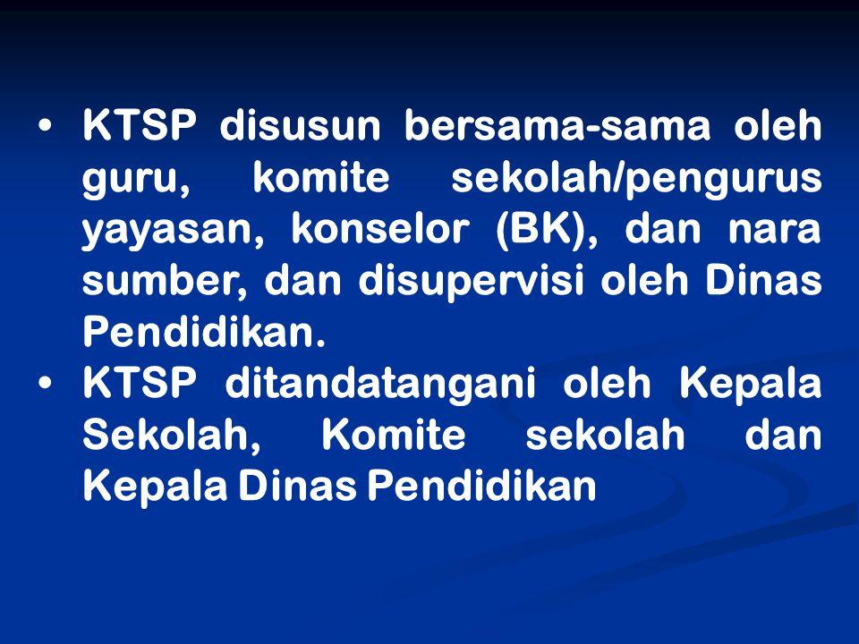 KTSP disusun bersama-sama oleh guru, komite sekolah/pengurus yayasan, konselor (BK), dan nara sumber, dan disupervisi oleh Dinas Pendidikan.