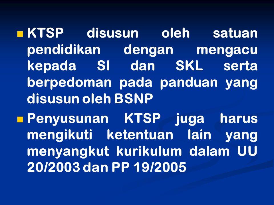 KTSP disusun oleh satuan pendidikan dengan mengacu kepada SI dan SKL serta berpedoman pada panduan yang disusun oleh BSNP