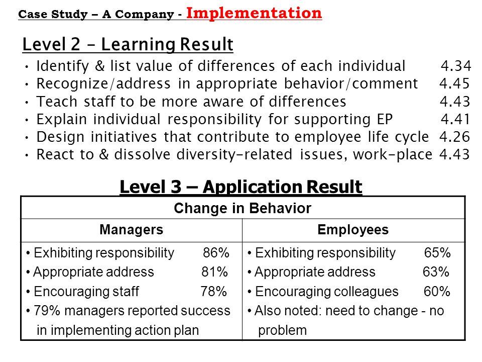 Level 3 – Application Result