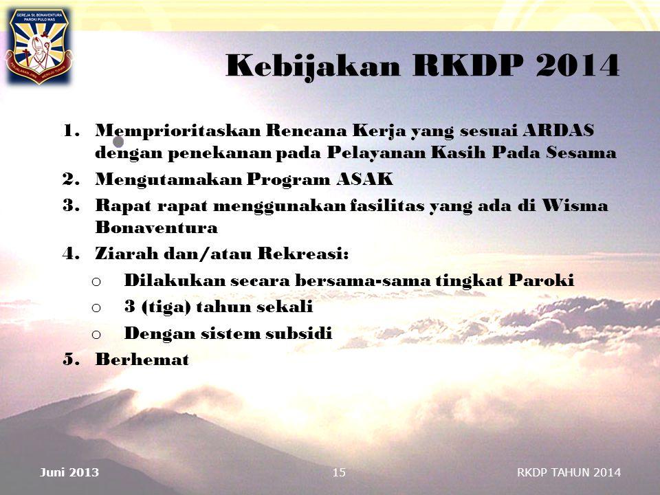 Kebijakan RKDP 2014 Memprioritaskan Rencana Kerja yang sesuai ARDAS dengan penekanan pada Pelayanan Kasih Pada Sesama.