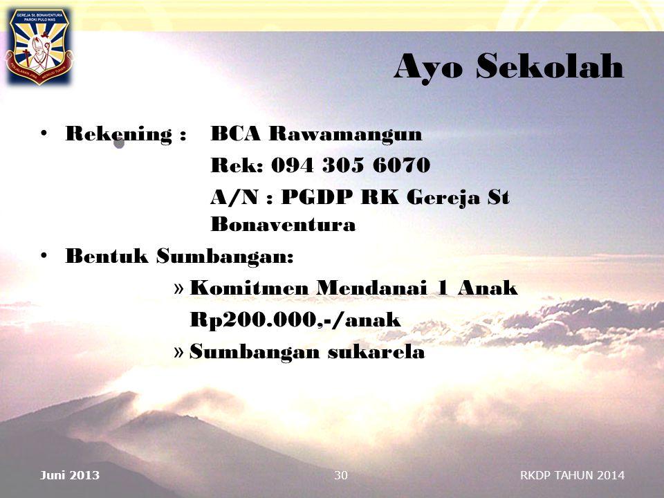 Ayo Sekolah Rekening : BCA Rawamangun Rek: 094 305 6070