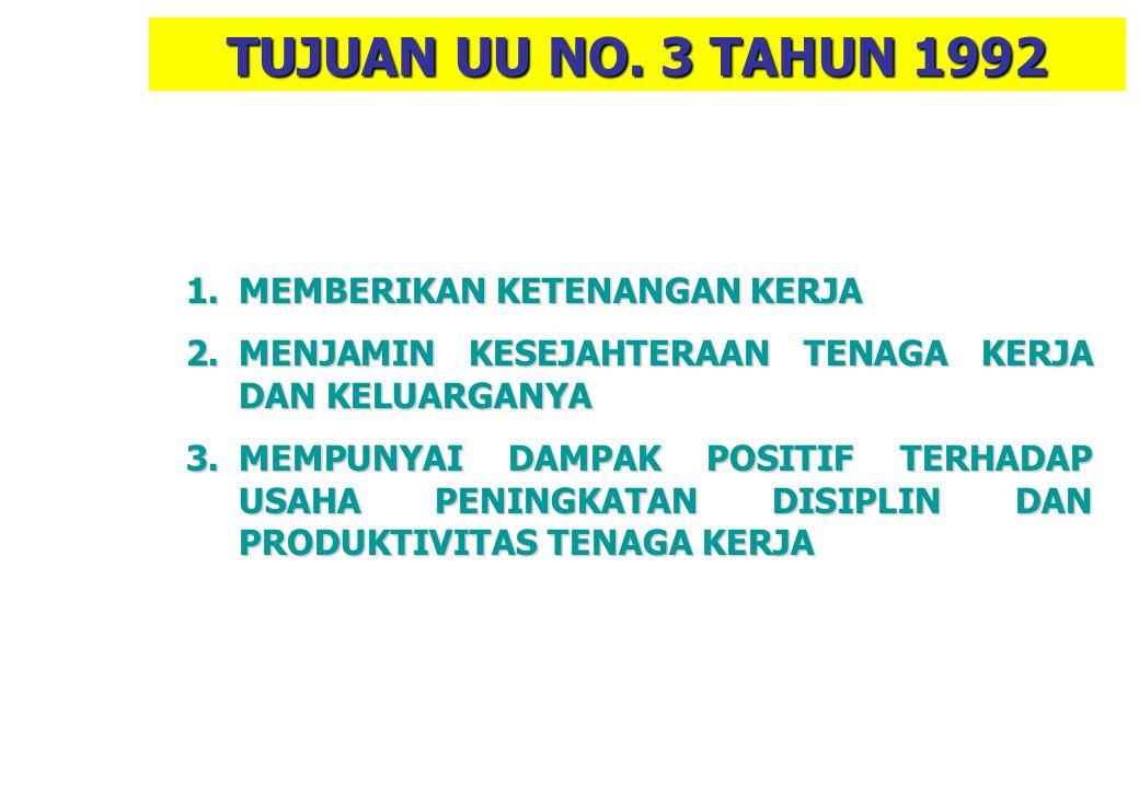TUJUAN UU NO. 3 TAHUN 1992 MEMBERIKAN KETENANGAN KERJA