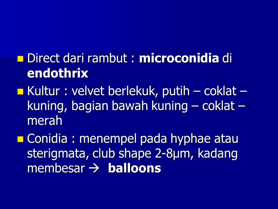 Direct dari rambut : microconidia di endothrix