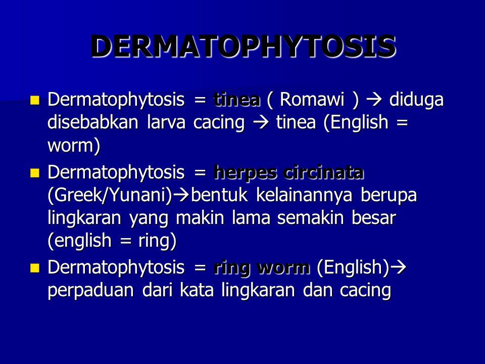 DERMATOPHYTOSIS Dermatophytosis = tinea ( Romawi )  diduga disebabkan larva cacing  tinea (English = worm)