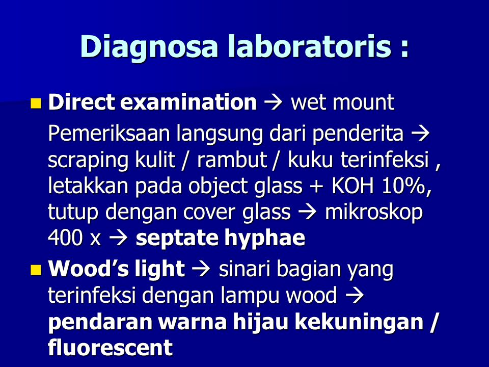 Diagnosa laboratoris :