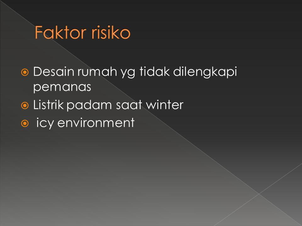 Faktor risiko Desain rumah yg tidak dilengkapi pemanas