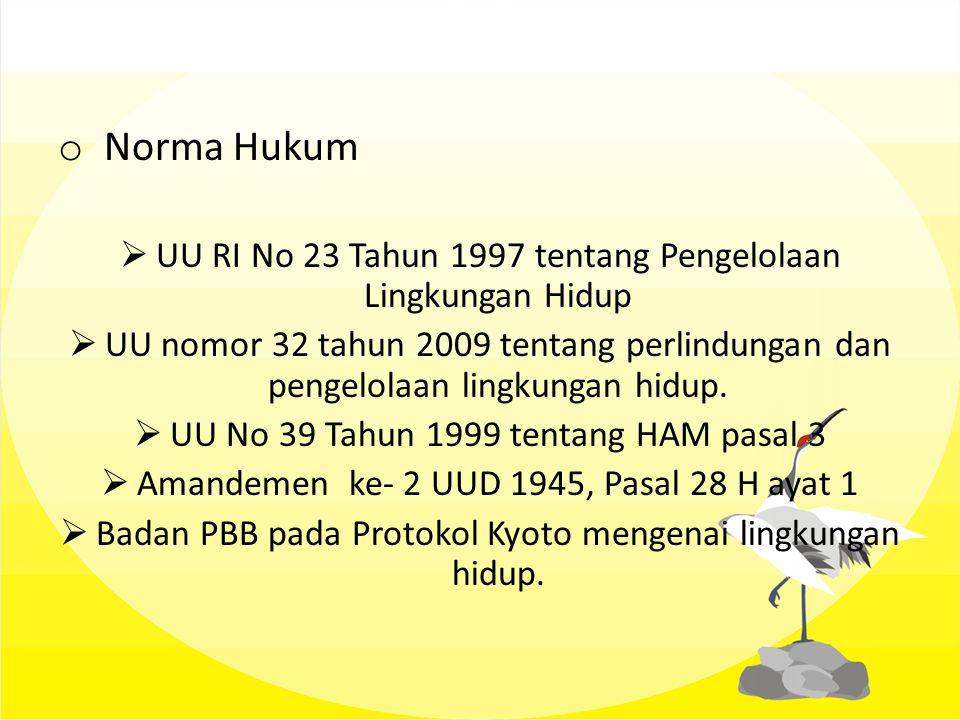 Norma Hukum UU RI No 23 Tahun 1997 tentang Pengelolaan Lingkungan Hidup.
