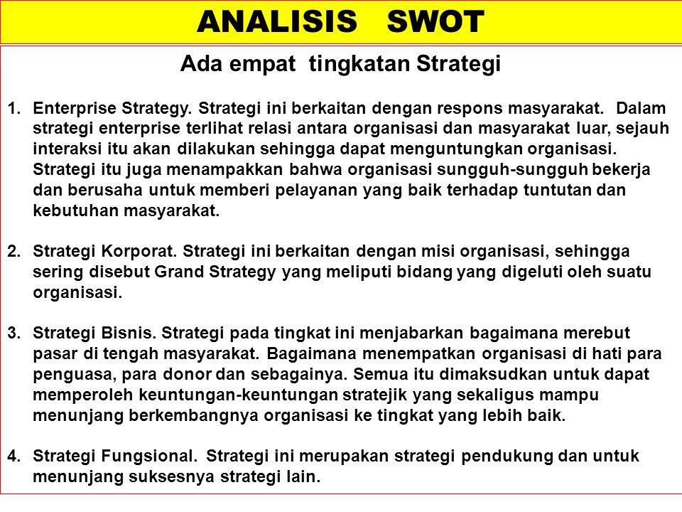 Ada empat tingkatan Strategi