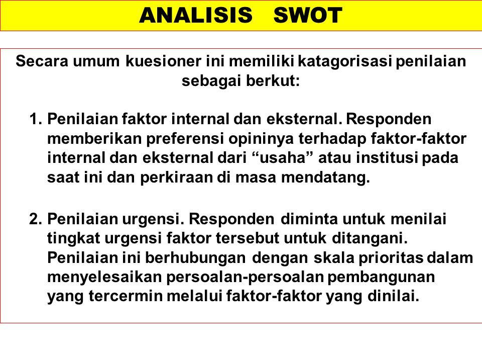 ANALISIS SWOT Secara umum kuesioner ini memiliki katagorisasi penilaian sebagai berkut: