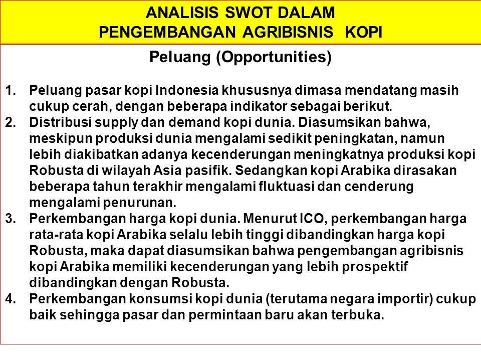 PENGEMBANGAN AGRIBISNIS KOPI Peluang (Opportunities)