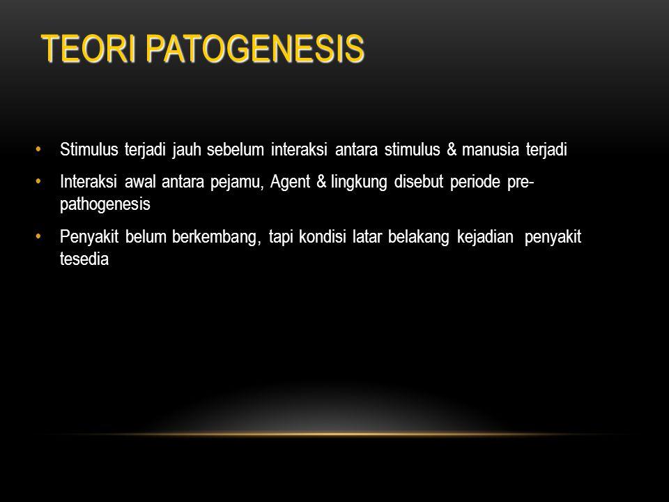 TEORI PATOGENESIS Stimulus terjadi jauh sebelum interaksi antara stimulus & manusia terjadi.