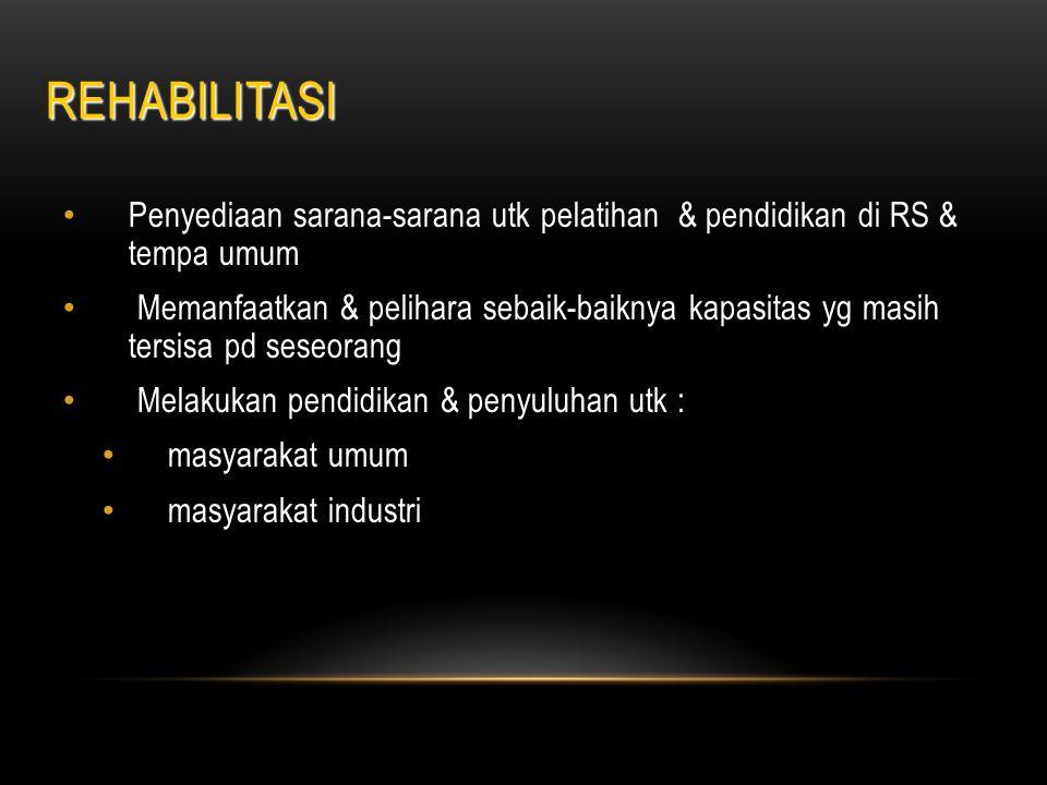 REHABILITASI Penyediaan sarana-sarana utk pelatihan & pendidikan di RS & tempa umum.