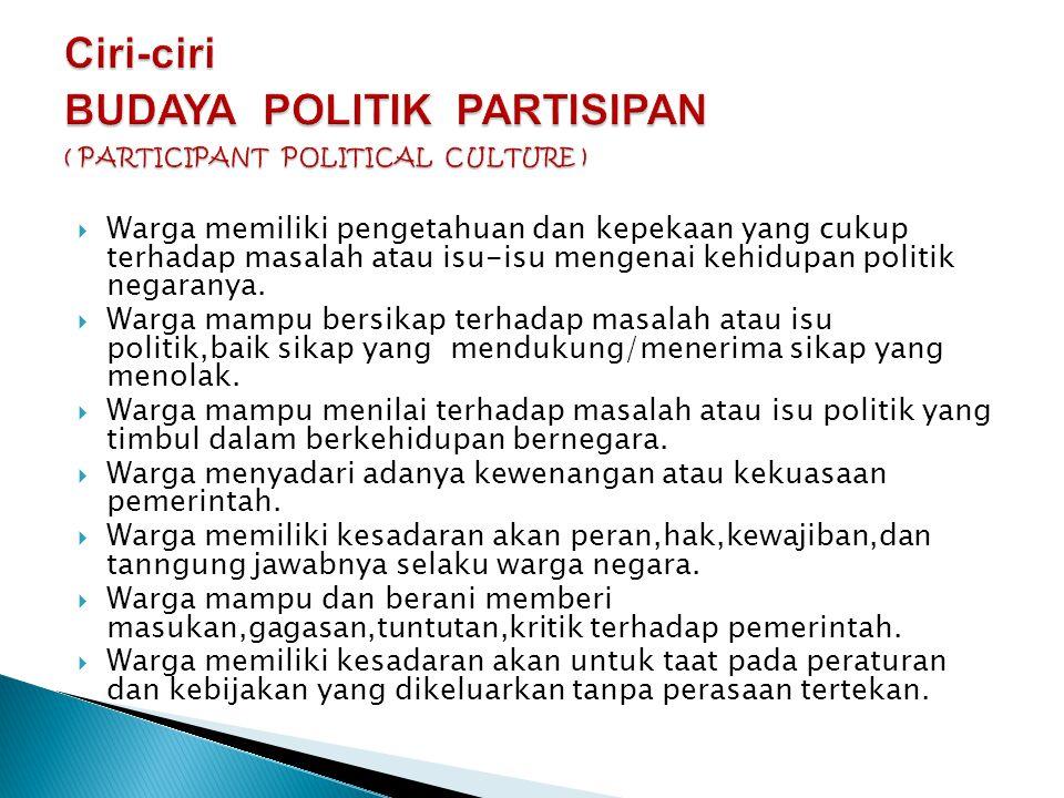 Ciri-ciri BUDAYA POLITIK PARTISIPAN ( PARTICIPANT POLITICAL CULTURE )