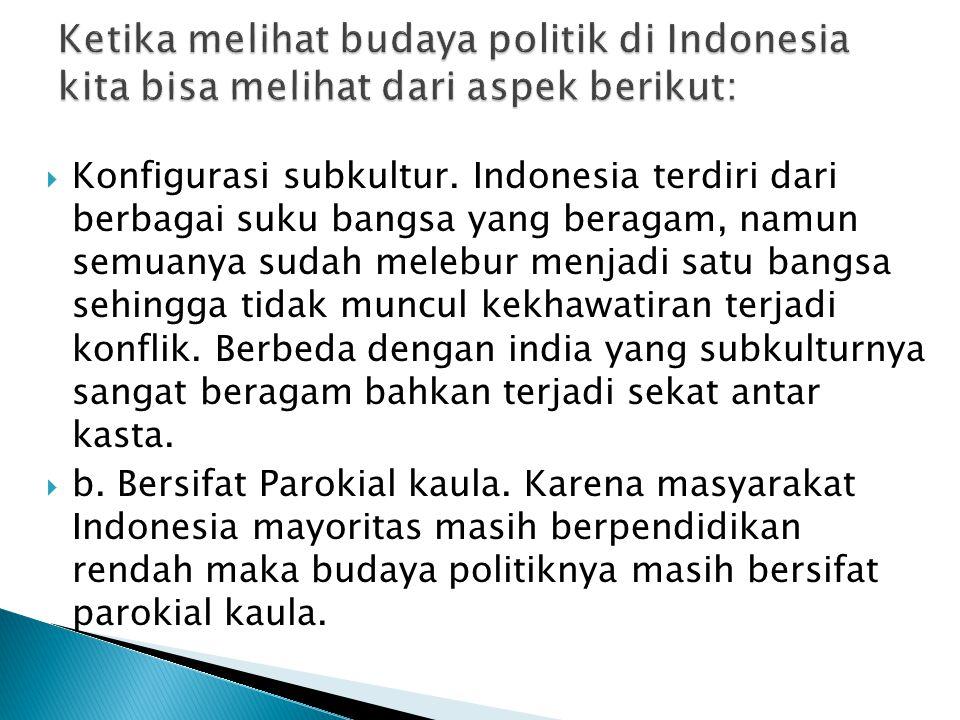 Ketika melihat budaya politik di Indonesia kita bisa melihat dari aspek berikut: