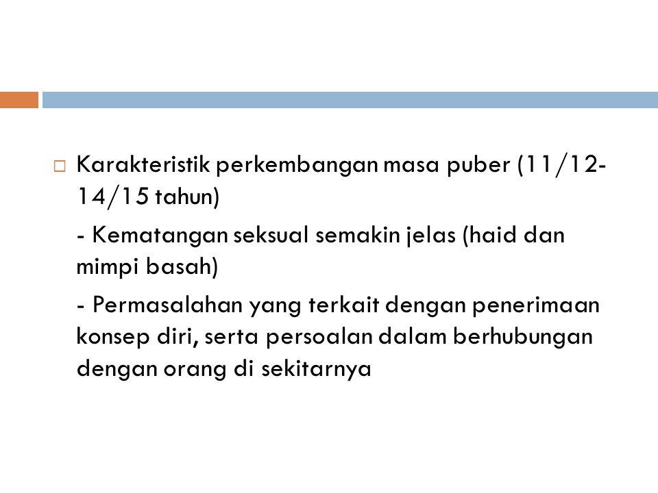 Karakteristik perkembangan masa puber (11/12- 14/15 tahun)