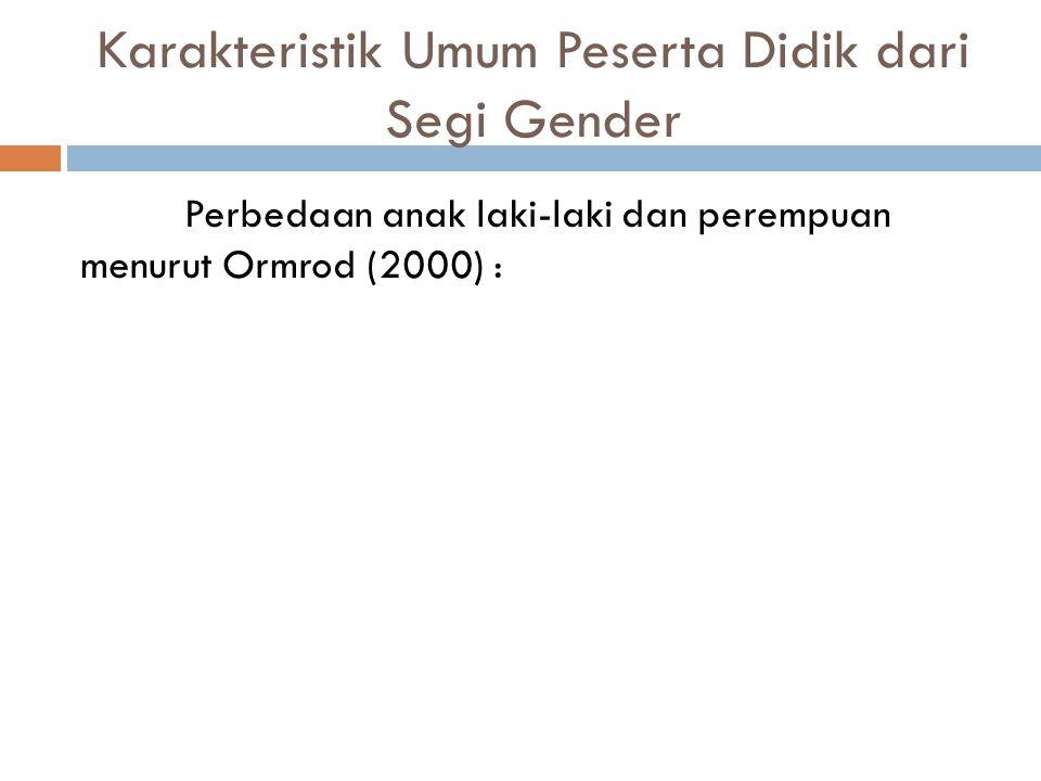 Karakteristik Umum Peserta Didik dari Segi Gender