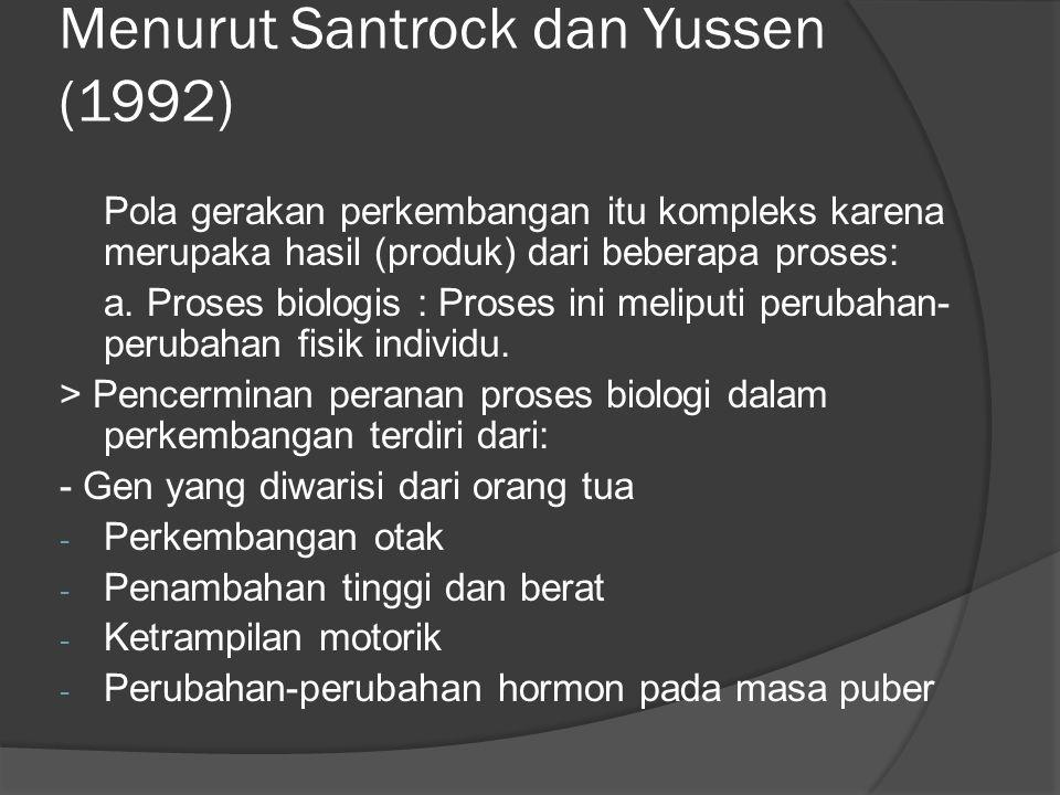Menurut Santrock dan Yussen (1992)