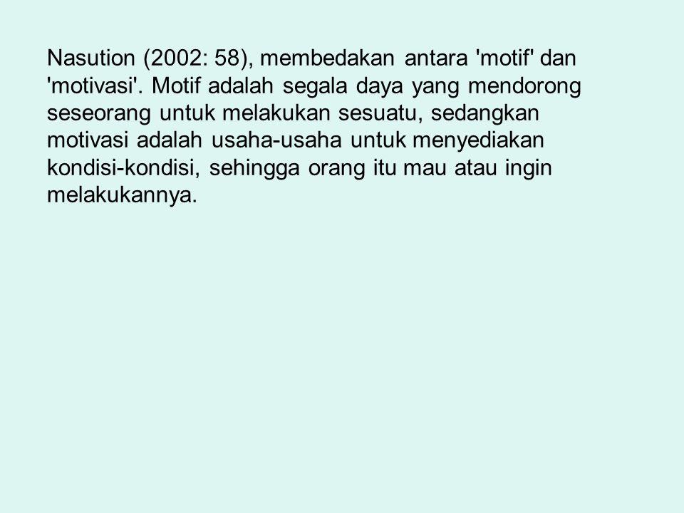 Nasution (2002: 58), membedakan antara motif dan motivasi