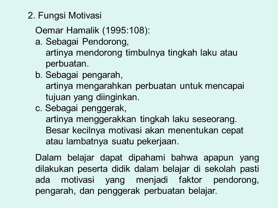 2. Fungsi Motivasi Oemar Hamalik (1995:108): Sebagai Pendorong, artinya mendorong timbulnya tingkah laku atau perbuatan.