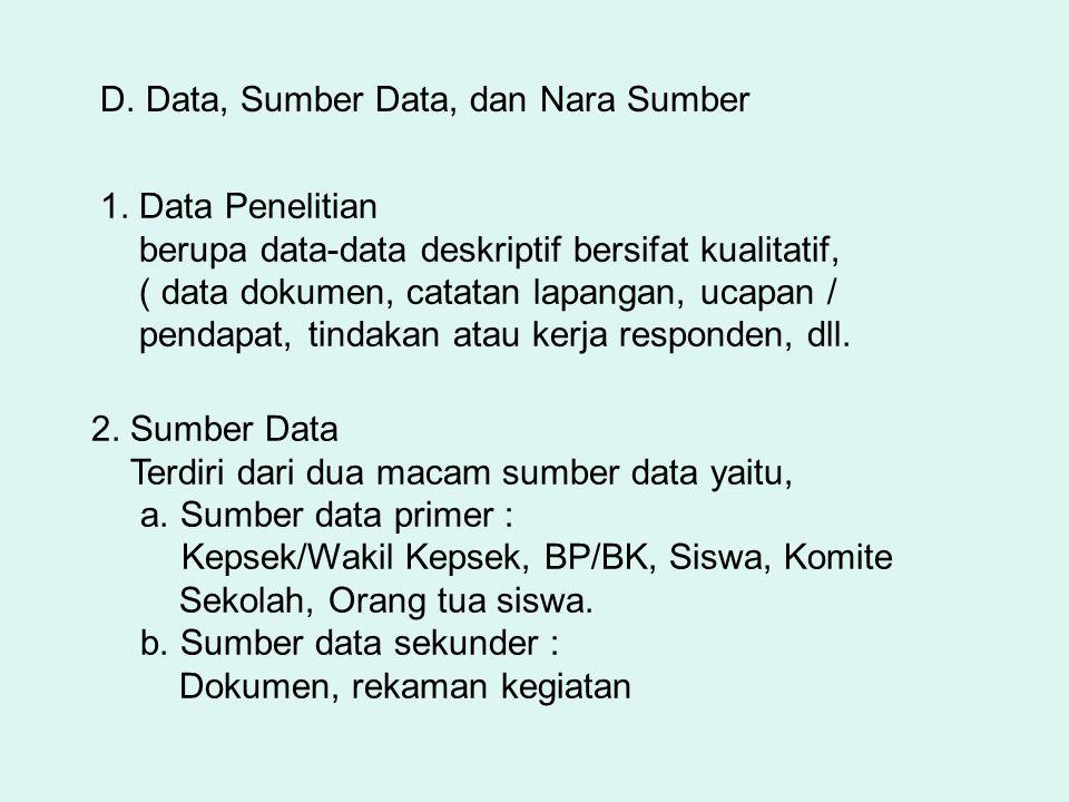 D. Data, Sumber Data, dan Nara Sumber