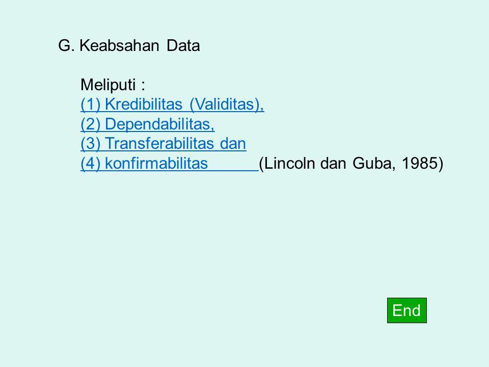 G. Keabsahan Data Meliputi : (1) Kredibilitas (Validitas), (2) Dependabilitas, (3) Transferabilitas dan.