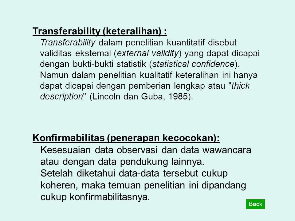 Transferability (keteralihan) :