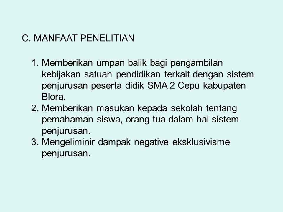 C. MANFAAT PENELITIAN