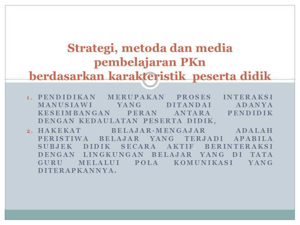 Strategi, metoda dan media pembelajaran PKn berdasarkan karakteristik peserta didik