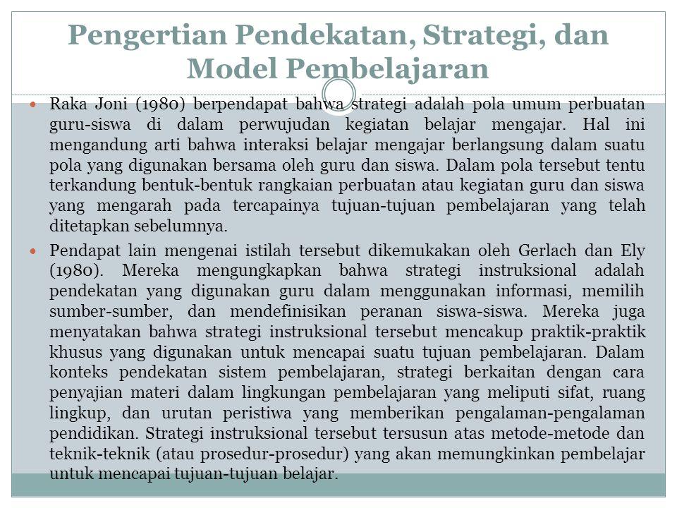 Pengertian Pendekatan, Strategi, dan Model Pembelajaran