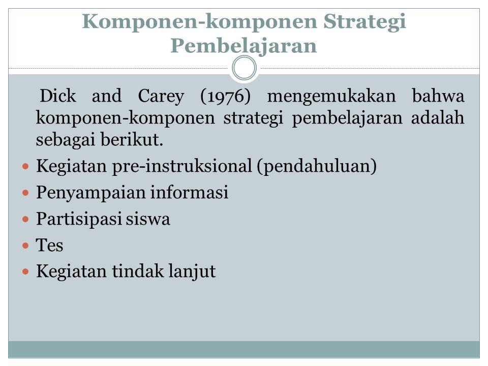 Komponen-komponen Strategi Pembelajaran