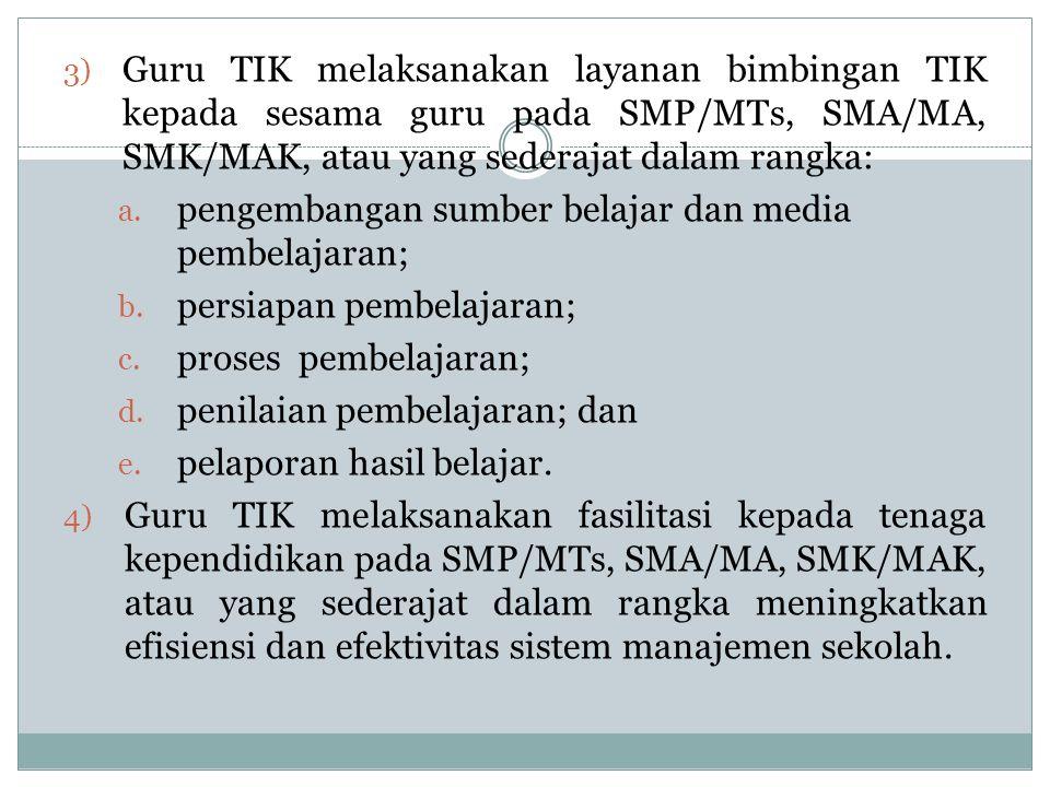 Guru TIK melaksanakan layanan bimbingan TIK kepada sesama guru pada SMP/MTs, SMA/MA, SMK/MAK, atau yang sederajat dalam rangka: