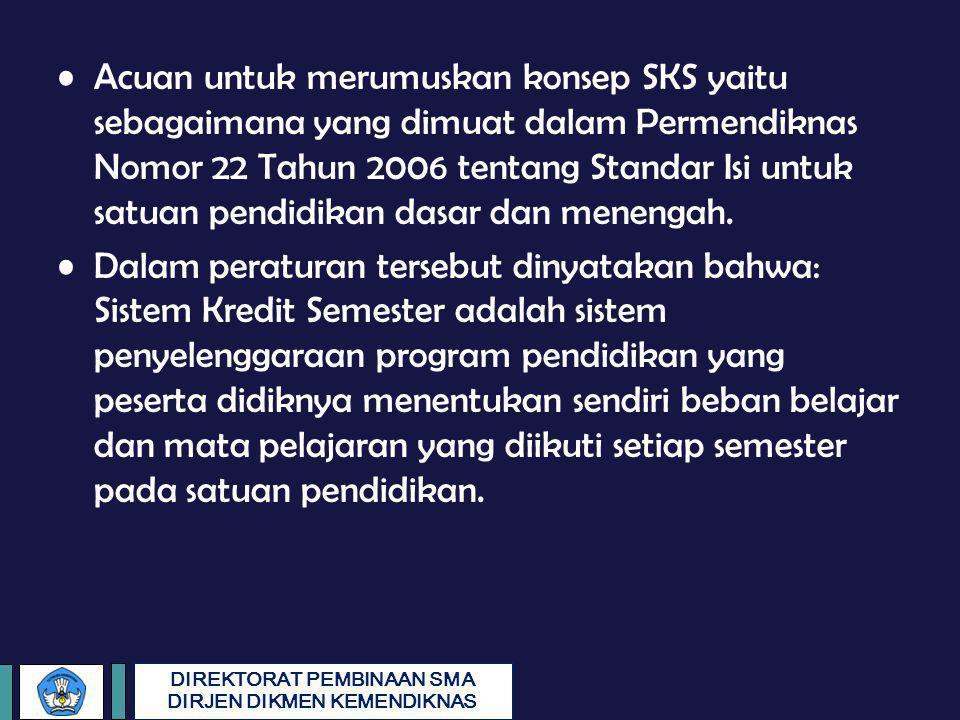Acuan untuk merumuskan konsep SKS yaitu sebagaimana yang dimuat dalam Permendiknas Nomor 22 Tahun 2006 tentang Standar Isi untuk satuan pendidikan dasar dan menengah.