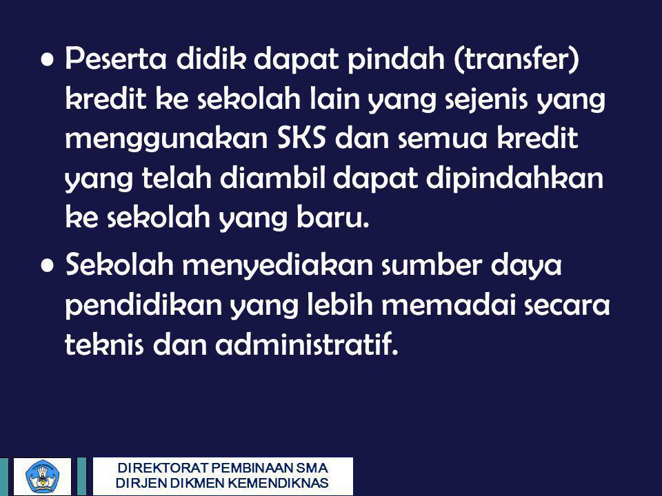 Peserta didik dapat pindah (transfer) kredit ke sekolah lain yang sejenis yang menggunakan SKS dan semua kredit yang telah diambil dapat dipindahkan ke sekolah yang baru.