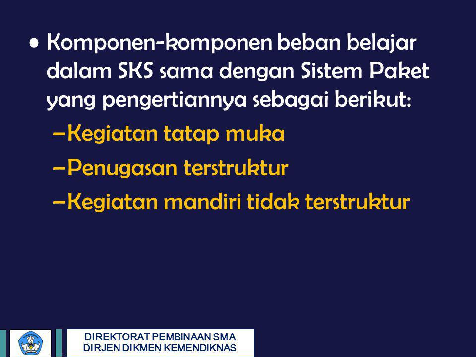 Komponen-komponen beban belajar dalam SKS sama dengan Sistem Paket yang pengertiannya sebagai berikut: