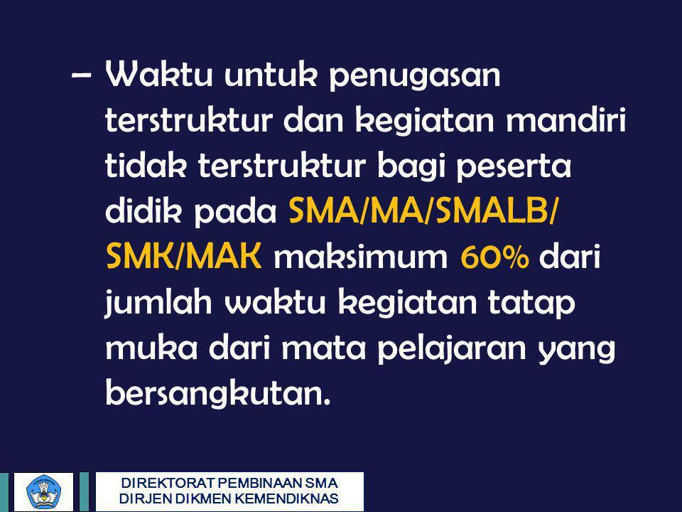 Waktu untuk penugasan terstruktur dan kegiatan mandiri tidak terstruktur bagi peserta didik pada SMA/MA/SMALB/ SMK/MAK maksimum 60% dari jumlah waktu kegiatan tatap muka dari mata pelajaran yang bersangkutan.