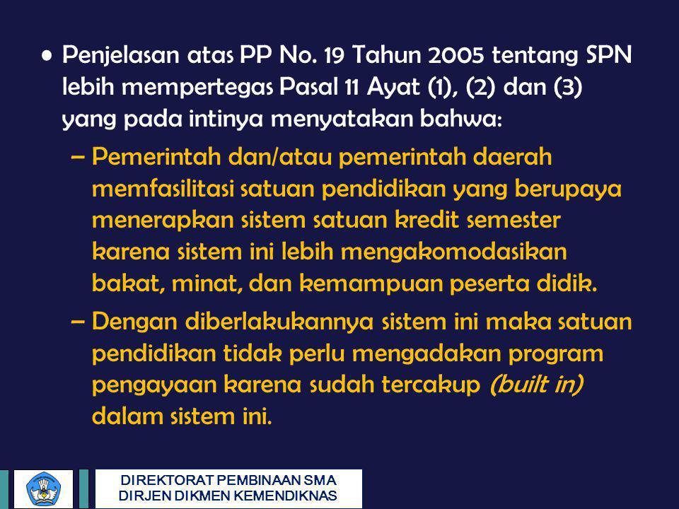 Penjelasan atas PP No. 19 Tahun 2005 tentang SPN lebih mempertegas Pasal 11 Ayat (1), (2) dan (3) yang pada intinya menyatakan bahwa: