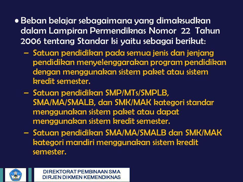 Beban belajar sebagaimana yang dimaksudkan dalam Lampiran Permendiknas Nomor 22 Tahun 2006 tentang Standar Isi yaitu sebagai berikut: