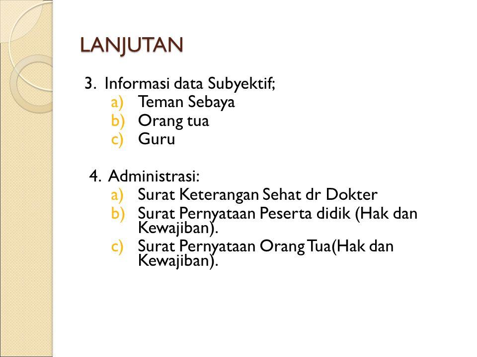 LANJUTAN 3. Informasi data Subyektif; Teman Sebaya Orang tua Guru