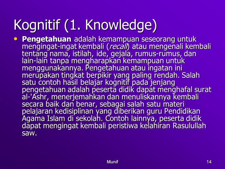 Kognitif (1. Knowledge)