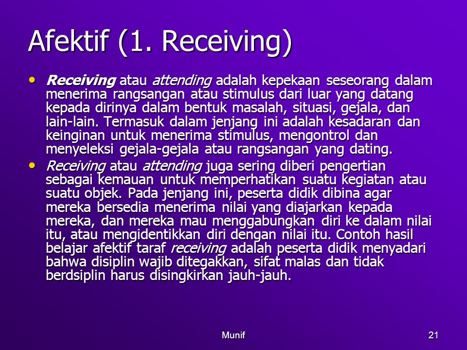 Afektif (1. Receiving)