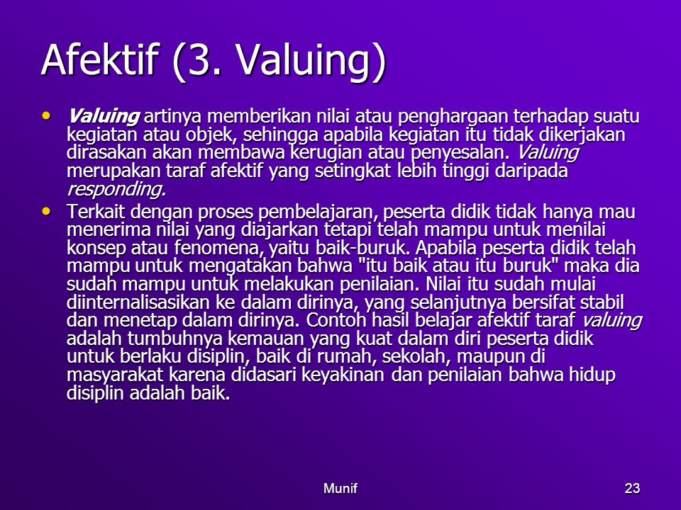 Afektif (3. Valuing)