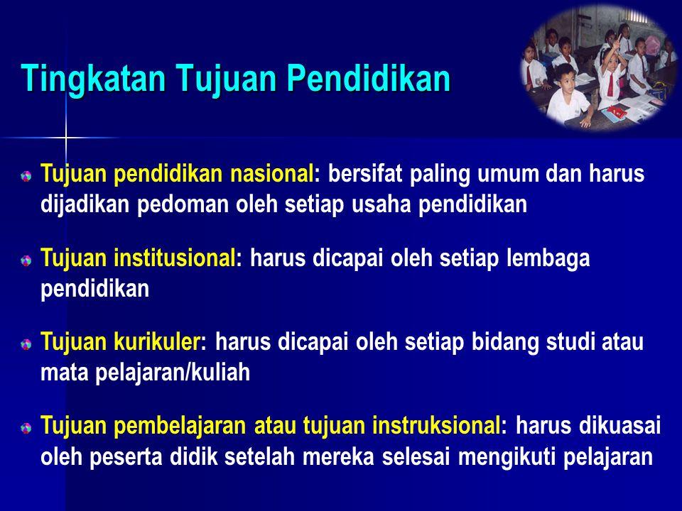 Tingkatan Tujuan Pendidikan