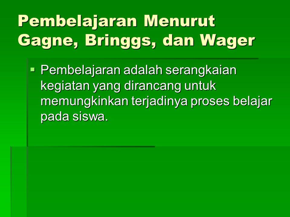 Pembelajaran Menurut Gagne, Bringgs, dan Wager
