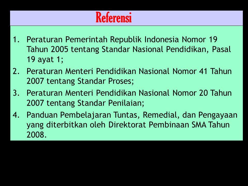 Referensi Peraturan Pemerintah Republik Indonesia Nomor 19 Tahun 2005 tentang Standar Nasional Pendidikan, Pasal 19 ayat 1;