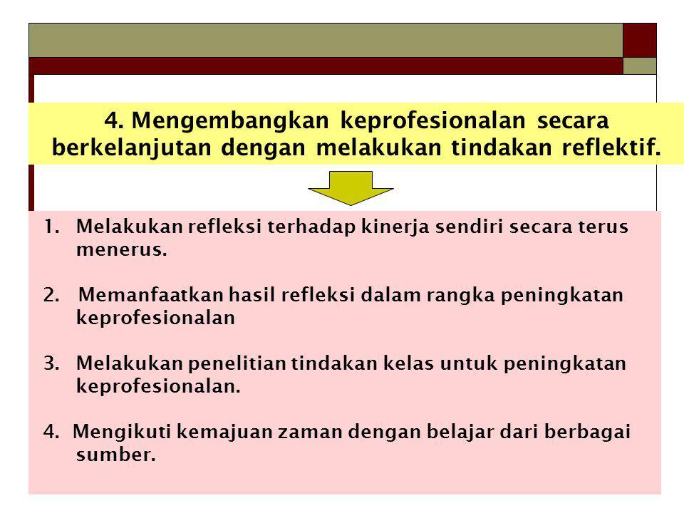 4. Mengembangkan keprofesionalan secara berkelanjutan dengan melakukan tindakan reflektif.