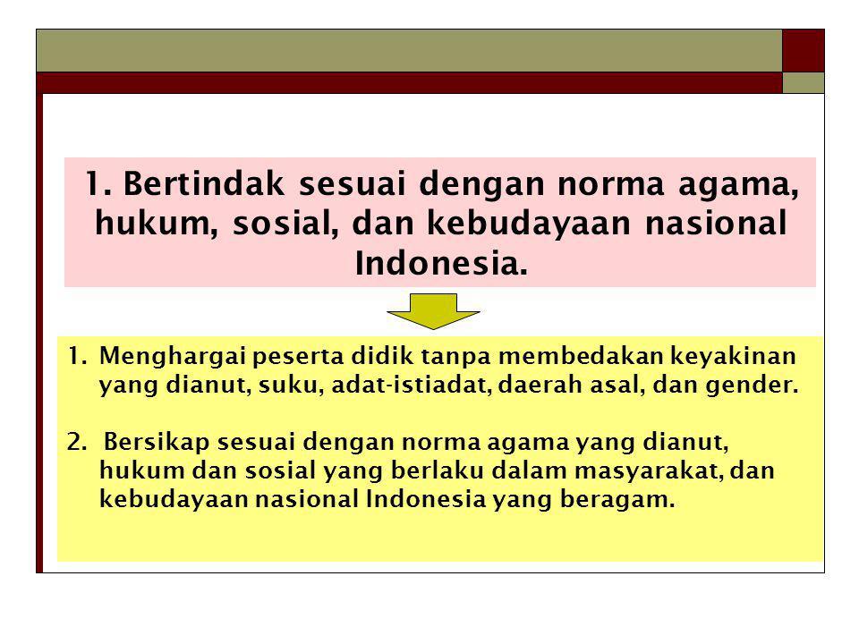 1. Bertindak sesuai dengan norma agama, hukum, sosial, dan kebudayaan nasional Indonesia.