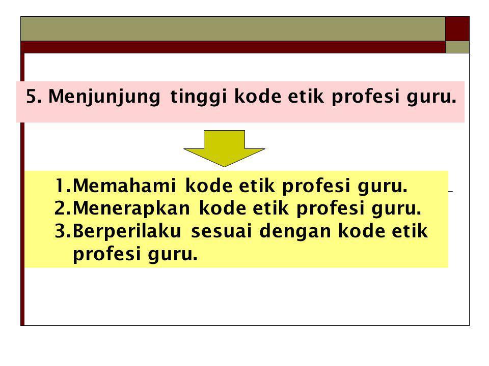 5. Menjunjung tinggi kode etik profesi guru.