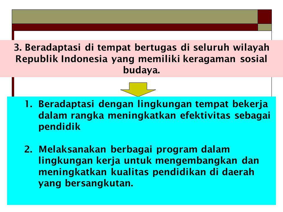 3. Beradaptasi di tempat bertugas di seluruh wilayah Republik Indonesia yang memiliki keragaman sosial budaya.